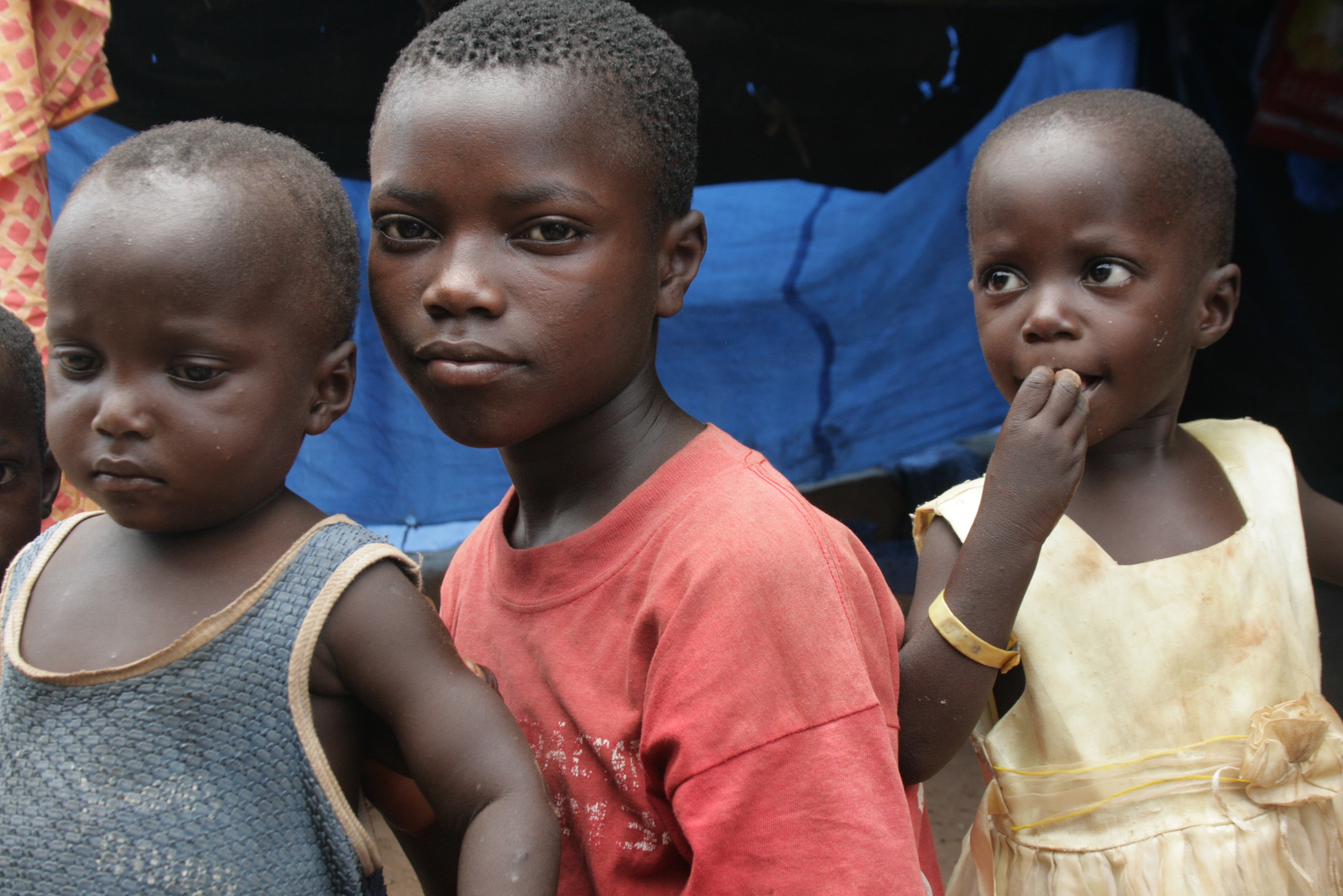 Displaced children at the Catholic mission site in Duékoué, western Côte d'Ivoire. April 2011