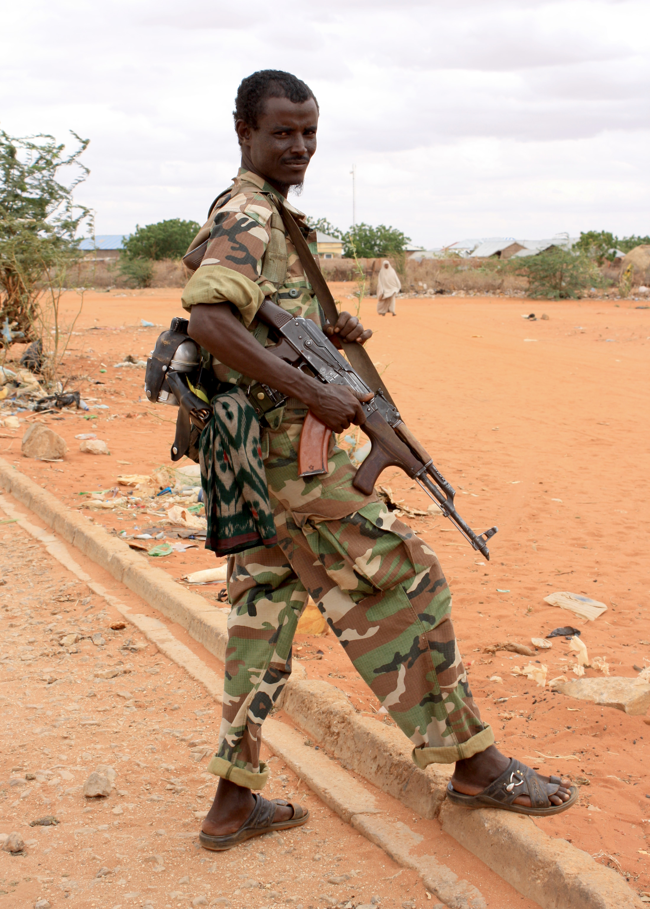 A Somali Transitional Federal Government soldier on the border between Bulo Hawo, the Somali town and Mandera town in northeastern Kenya