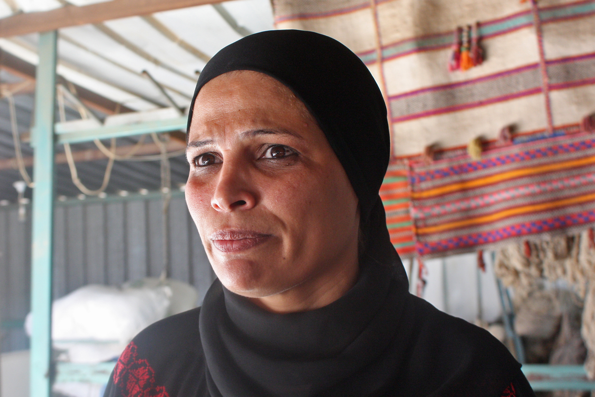 Khadra El Saneh, is the director of Sidreh, an organization supporting Bedouin women in the Negev. She launched a weaving center in Laqiya village that now employs 70 women