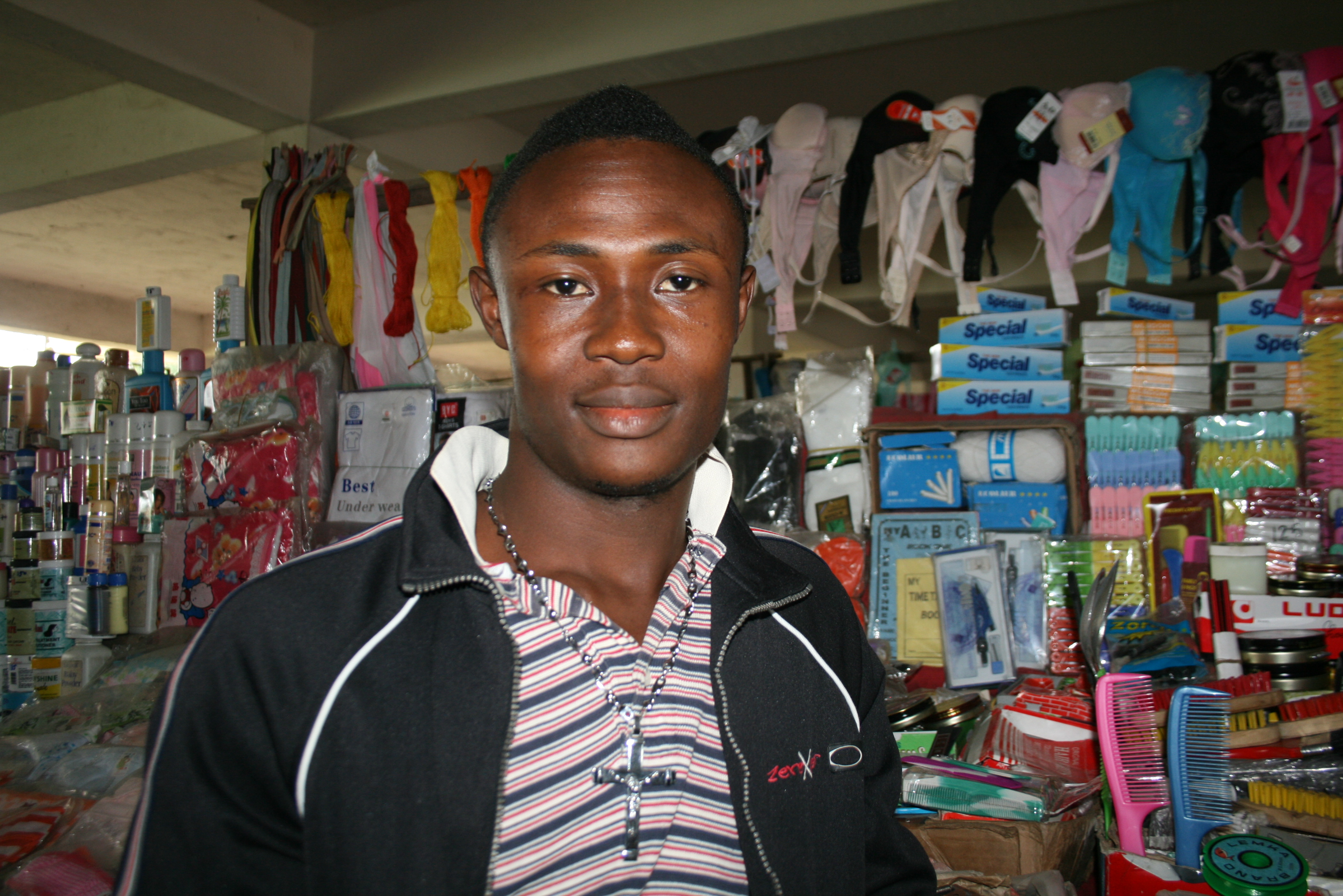 Ezekiel Yalliah, a seller at Nancy B Doe market in Monrovia, says his elections priorities would be to make prices stable and find youths jobs