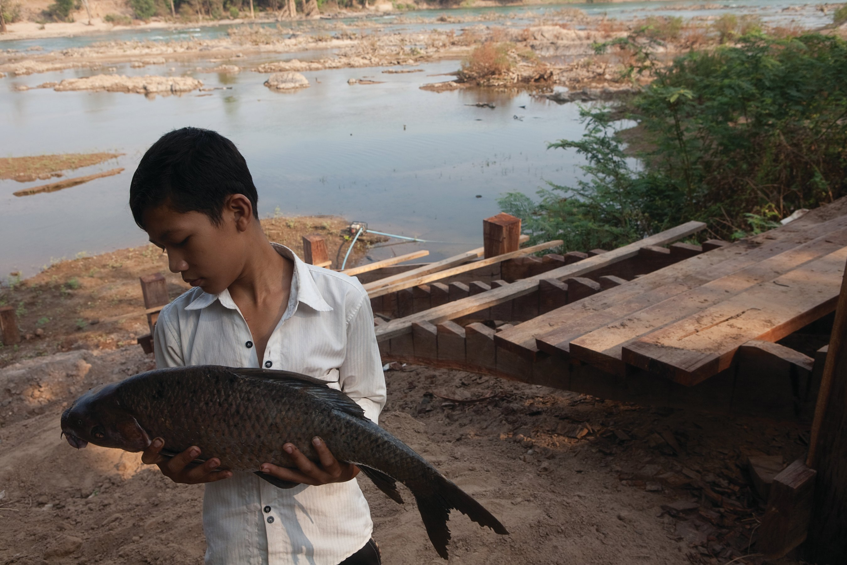 A young boy holds a fish in rural Cambodia. Despite strong economic growth, much of the country remains dependent on a rural economy and natural resources