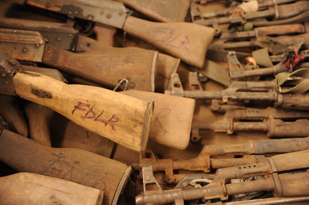Small arms originating from the armed militia group in the eastern DRC, the Democratic Forces for the Liberation of Rwanda (FDLR), catalogued in Goma before being sent for destruction
