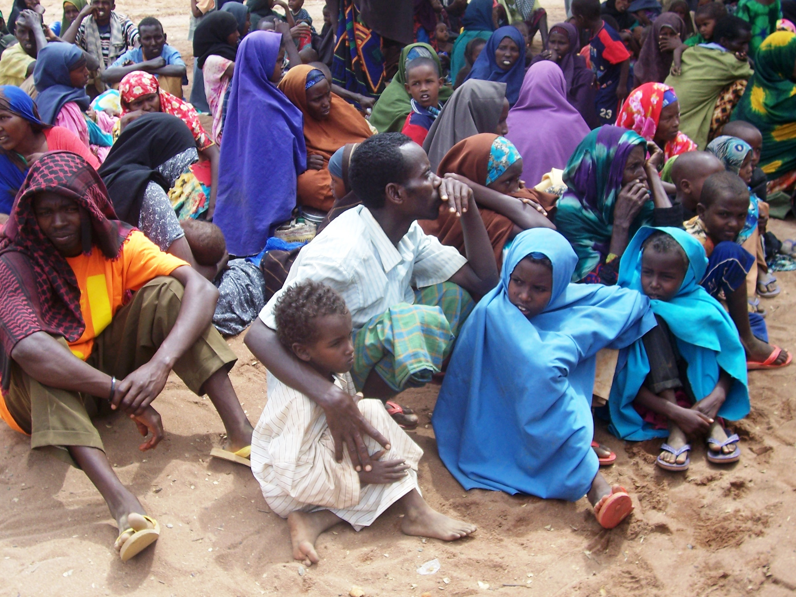 Refugees wait to be registered at northeastern Kenya's Dadaab Refugee Camp