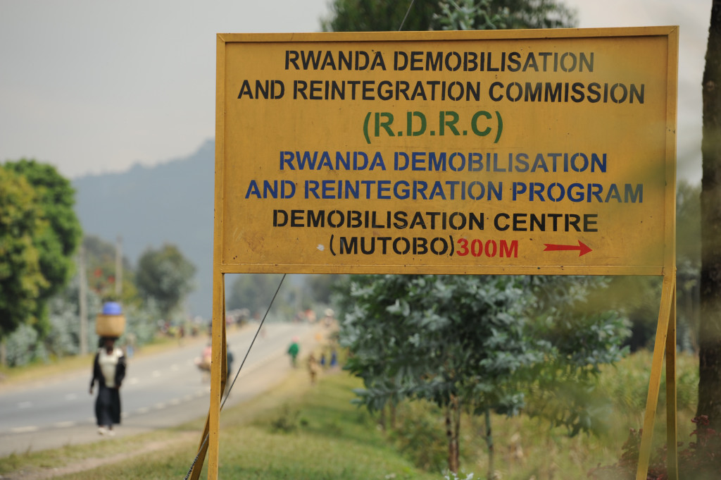 The entrance to the demobilization and reintegration commission in Mutobo, Rwanda