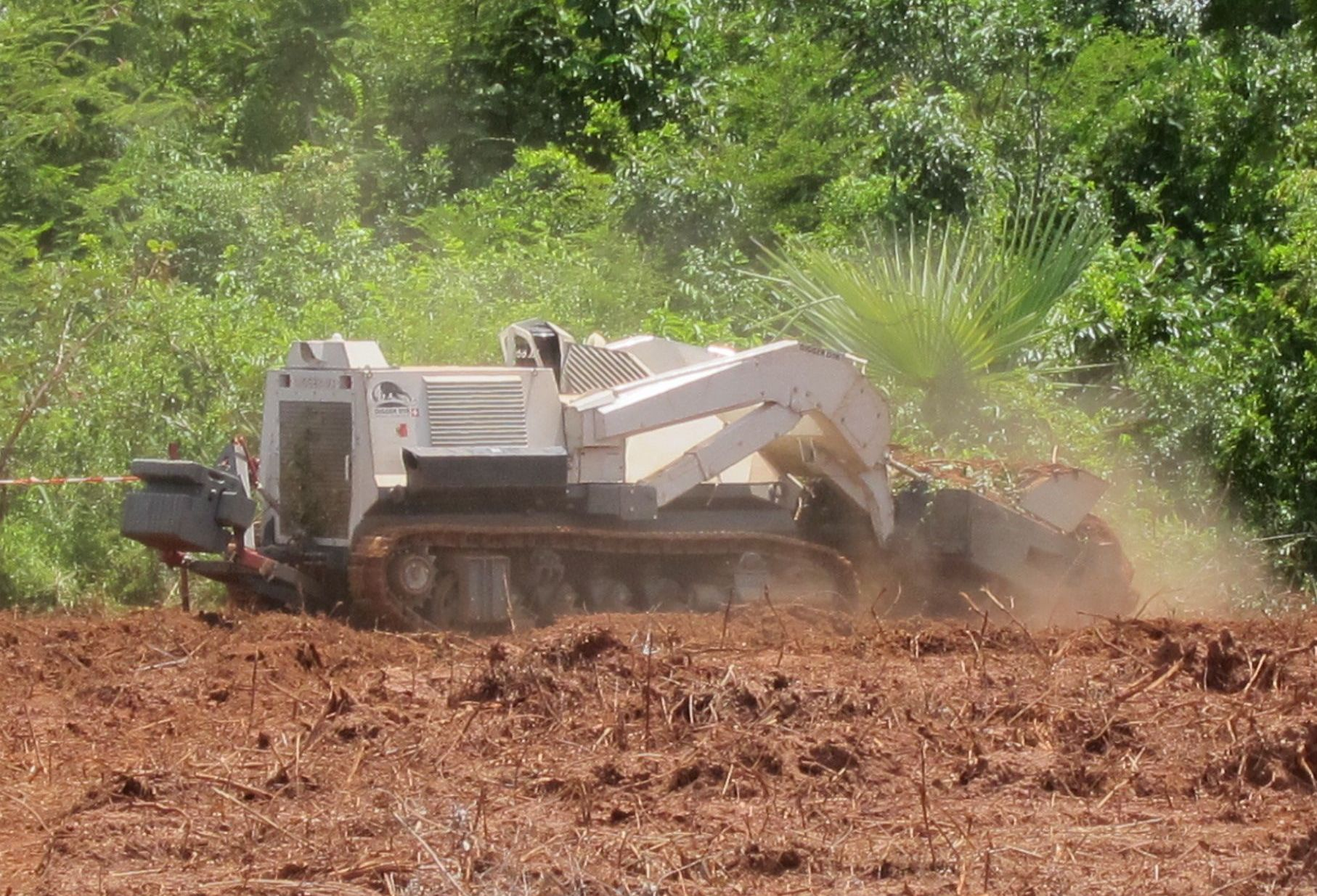 The Digger D-3 demining machine at work in Sindone, Casamance, Senegal