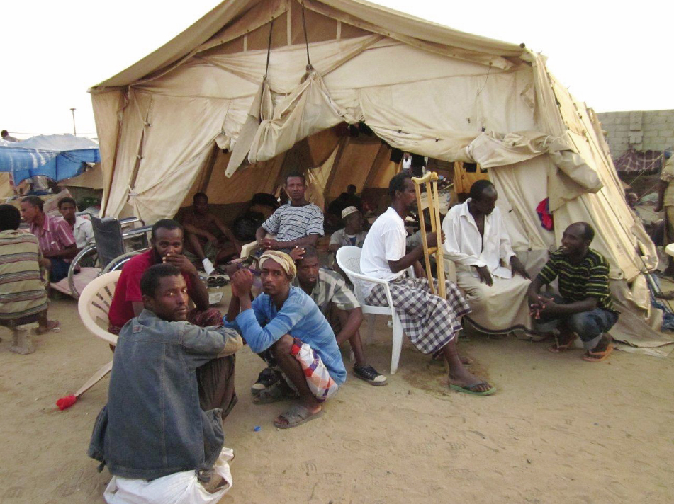 Injured migrants treated by IOM and its partners waiting for their return to Ethiopia at the IOM Departure Centre in Haradh. Since November 2010,