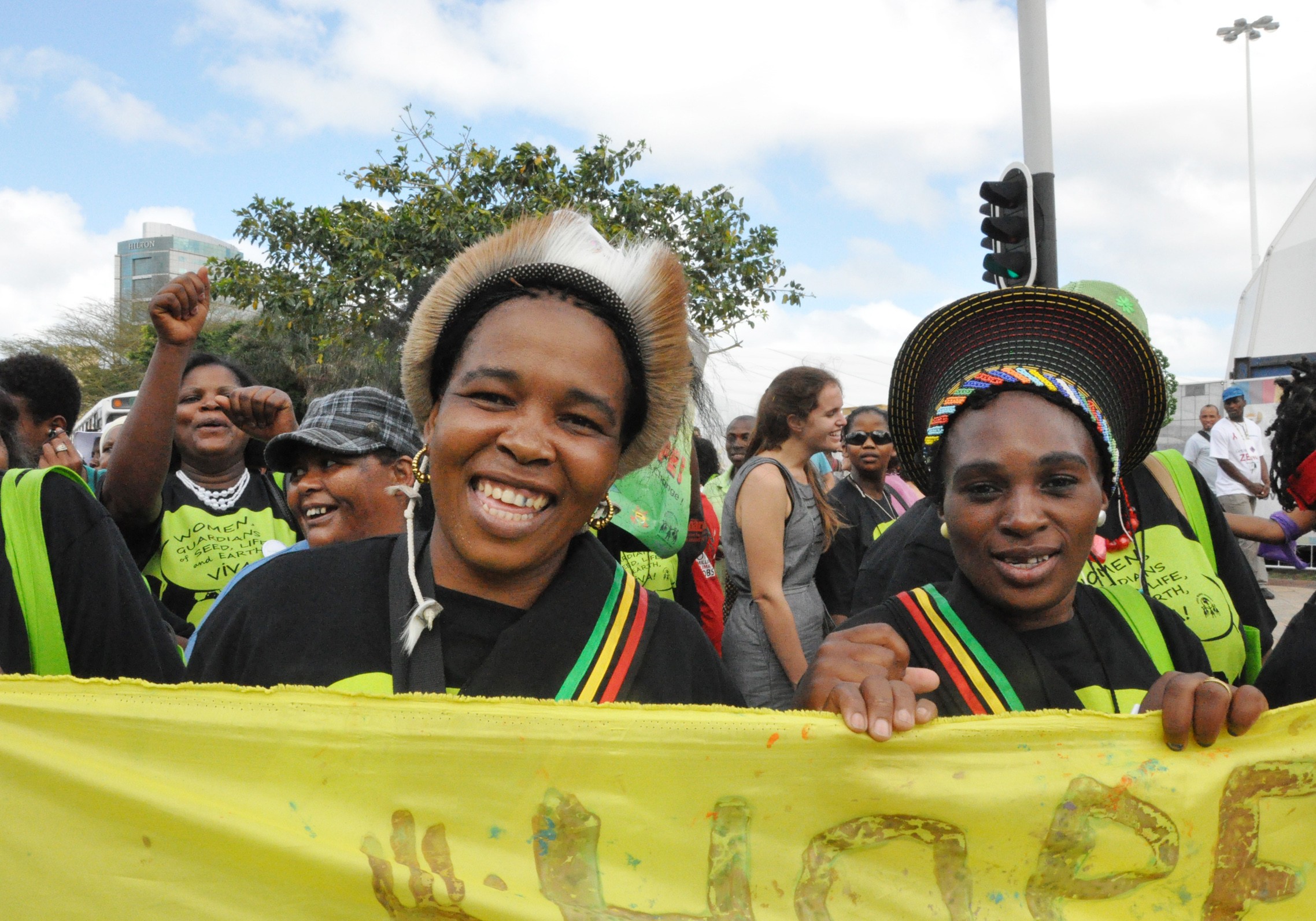 Women from the Rural Women's Assembly take to the streets in Durban, South Africa, Dec 2011