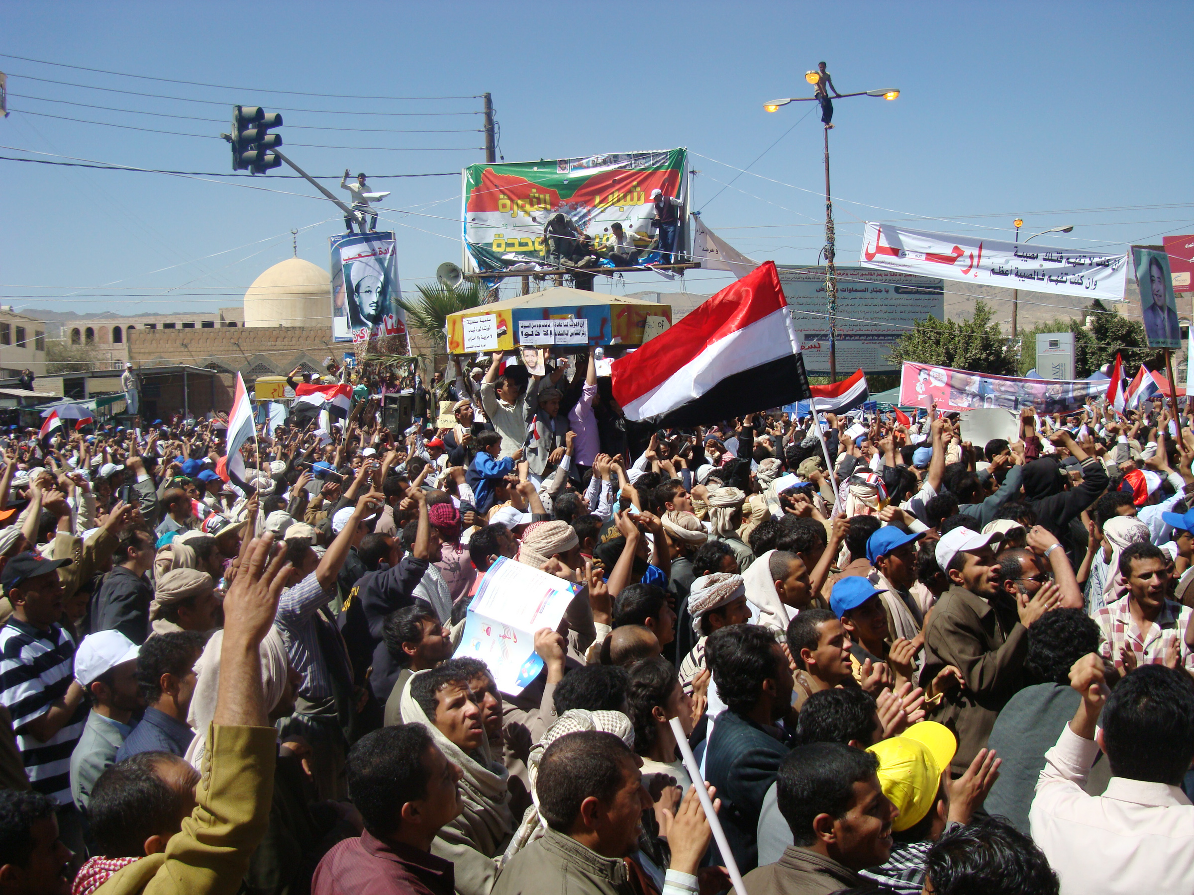 Protesters in Sanaa opposed to the power transition deal that gave Saleh immunity from prosecution
