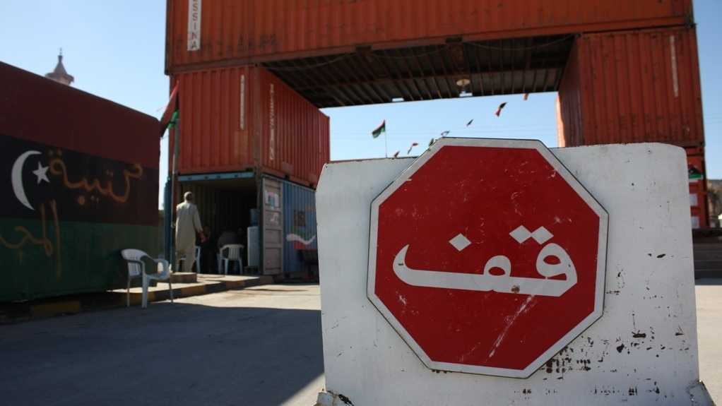 A stop sign outside a rebel-made checkpoint in post-war Misrata, Libya. November 2011
