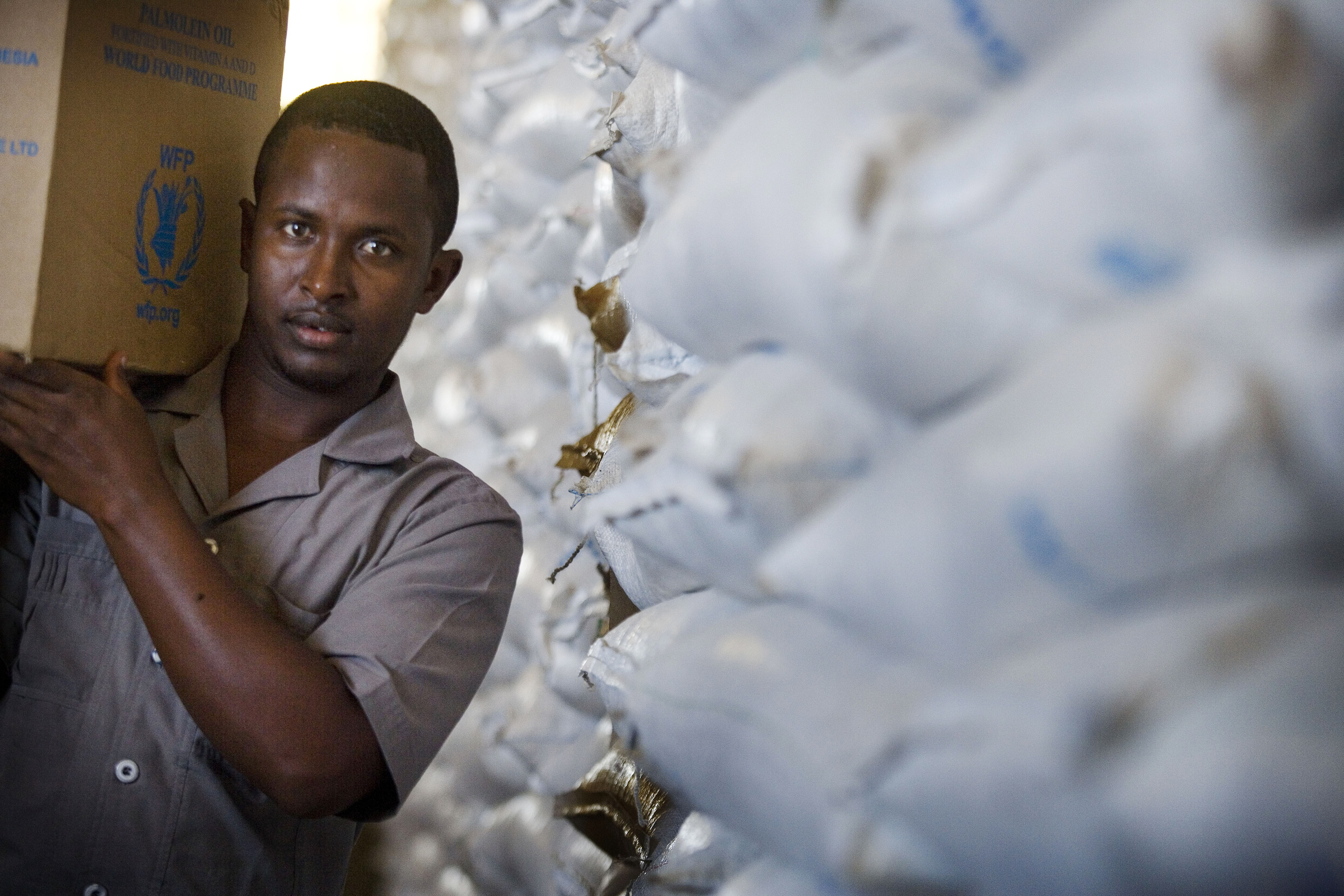 Relief food at a WFP warehouse in Mogadishu, Somalia