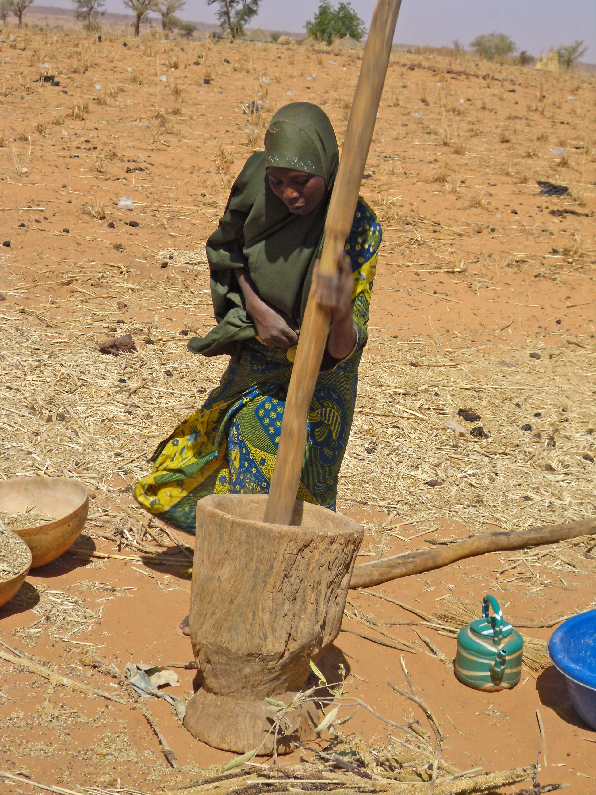 Pounding millet in the village of Boukanda, 50km west of Niamey, capital of Niger