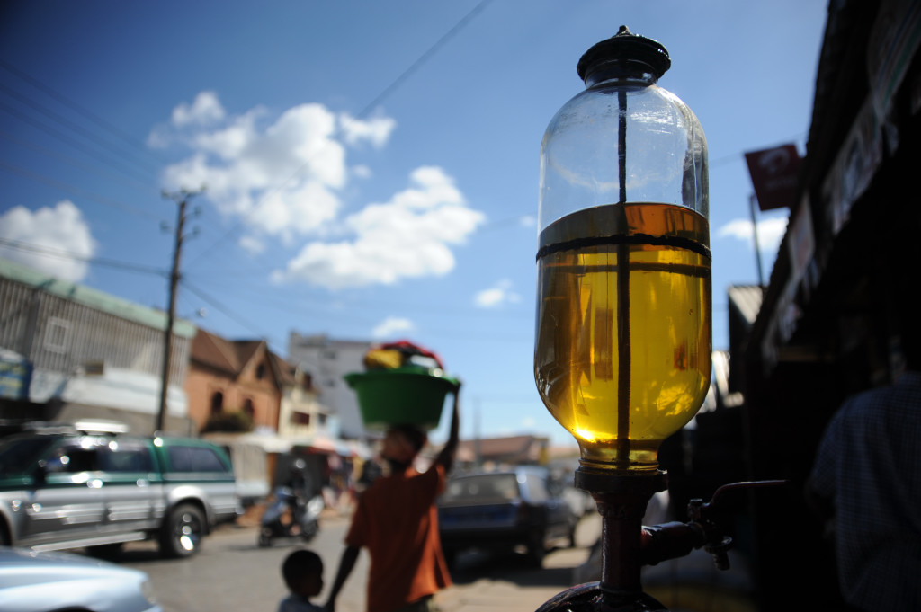A cooking oil dispenser in the Madagascan capital of Antananarivo