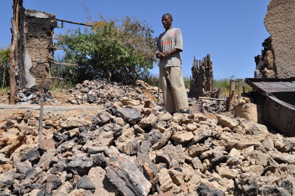 Damaged houses in Moyale, the aftermath of inter-ethnic conflict