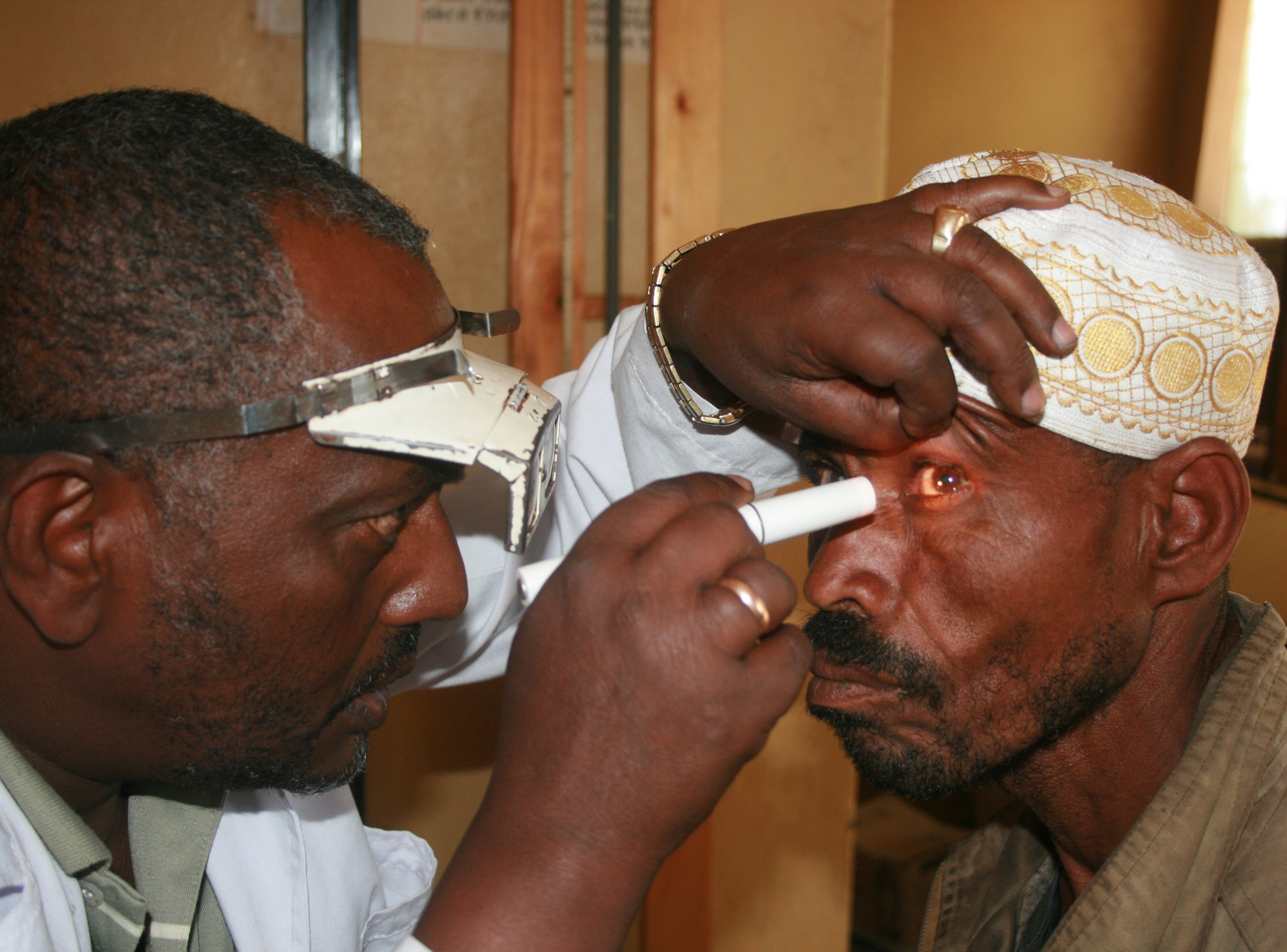 A patient gets his eyes checked for trachoma at a clinic in Ethiopia