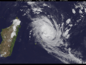 Cyclone Giovanna pushing towards the Indian Ocean island of Madagascar