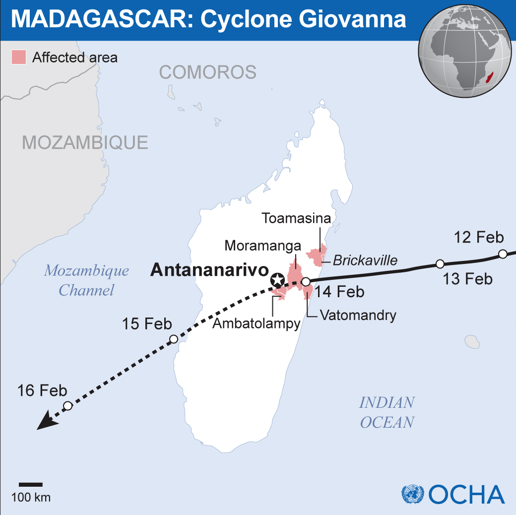 14 Feb 2012 - Tropical Cyclone Giovanna made landfall on Madagascar's eastern coast early Tuesday morning. The