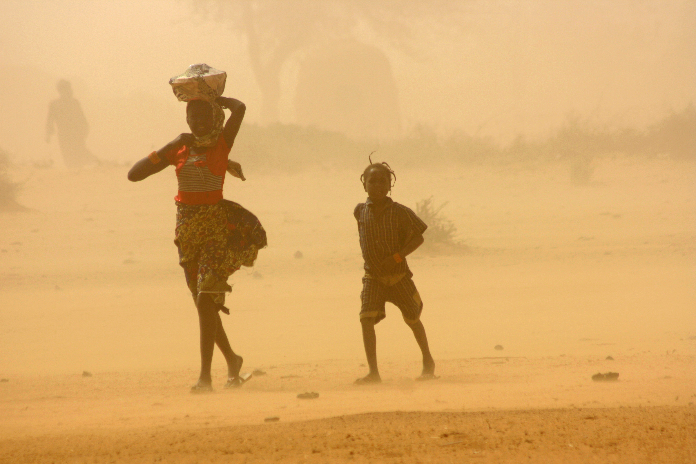Children walk through a sandstorm in Tillaberi region, Niger (Feb 2012)