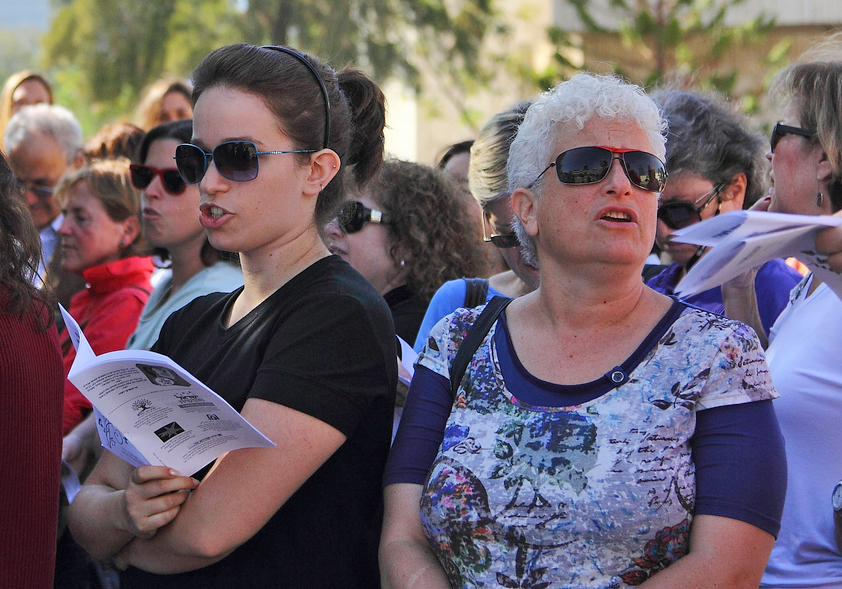 "The ""Singing Women"" protest in Tel Aviv, which drew some 400+ protesters. The protesters were objecting to the fact more and more parts of the public sphere in Israel are closed to women, and to the fact the army recognizes demands that women not sing in"
