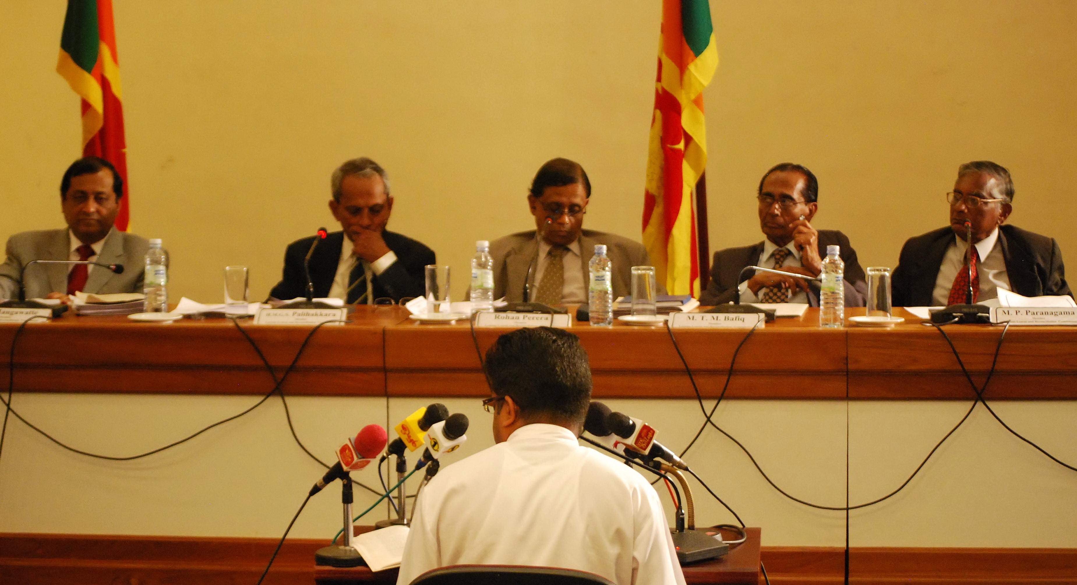 A witness giving evidence at the sittings of Sri Lanka's Lessons Learnt and Reconciliation Commission