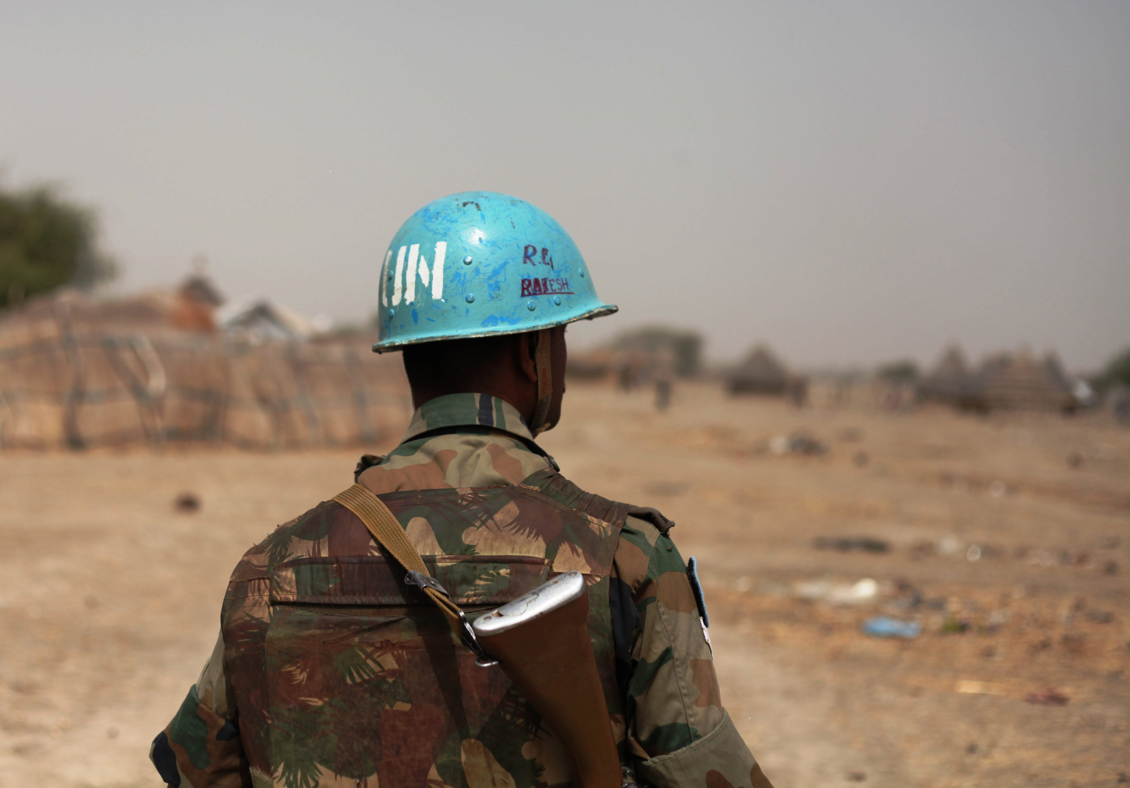 UN Peacekeeper patrolling in Akobo, South Sudan