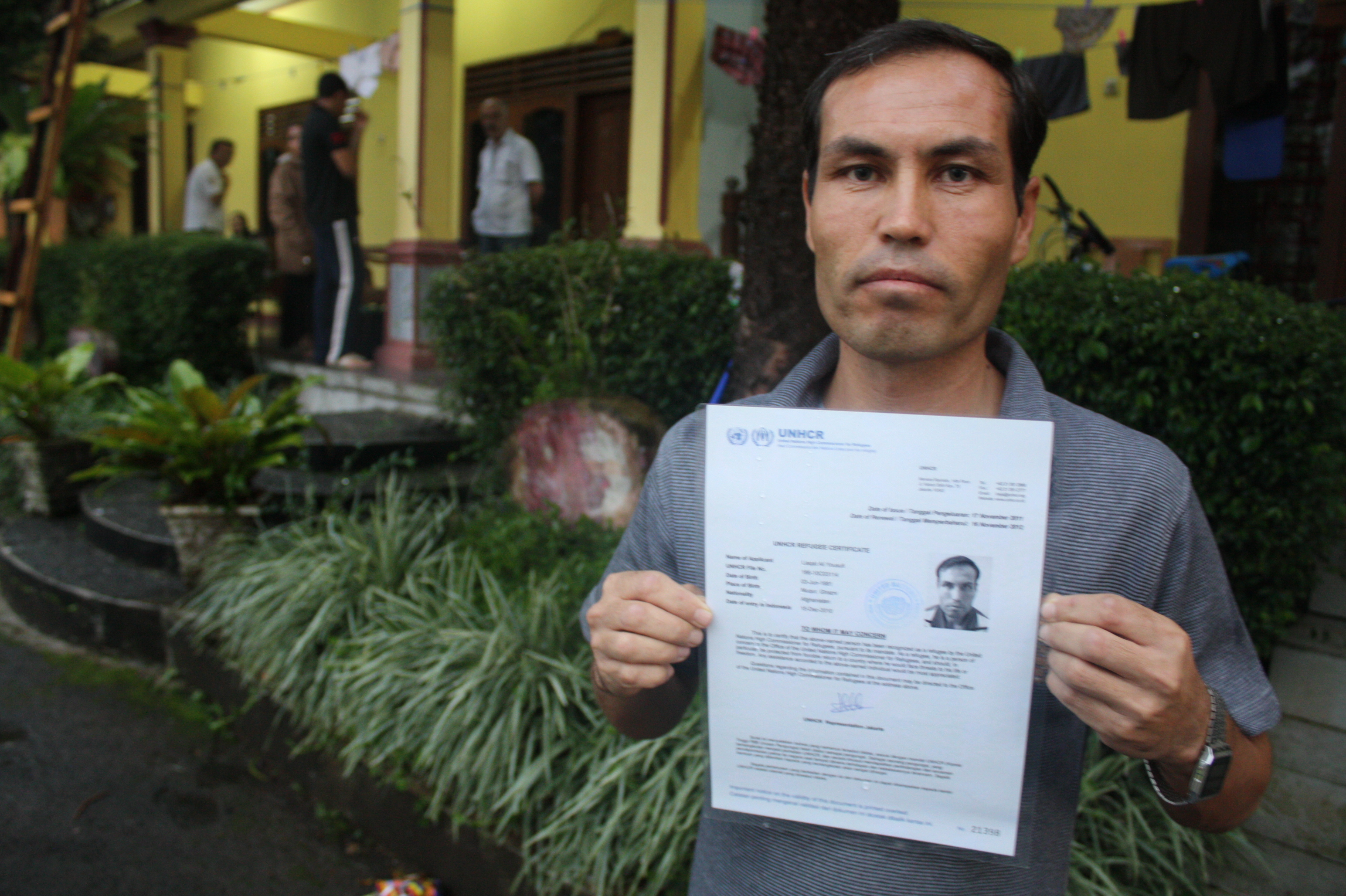 Liaqat Ali Yousufi, a UNHCR-recognized refugee from Afghanistan in Puncak, Indonesia. There are more than 4,000 registered asylum seekers and refugees in Indonesia today, UNHCR reports