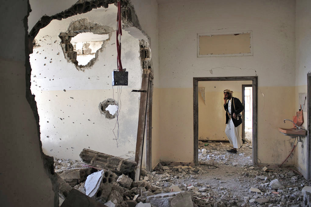 The Marrani family home in the village of Shaab, near the Yemeni capital Sana'a, was damaged during clashes between Republican Guards and opposition gunmen in 2011
