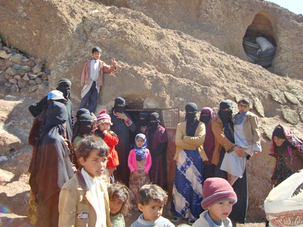 Several dozen families have been sheltering in nearby caves in Arhab district, some 30km northeast of the capital Sana'a