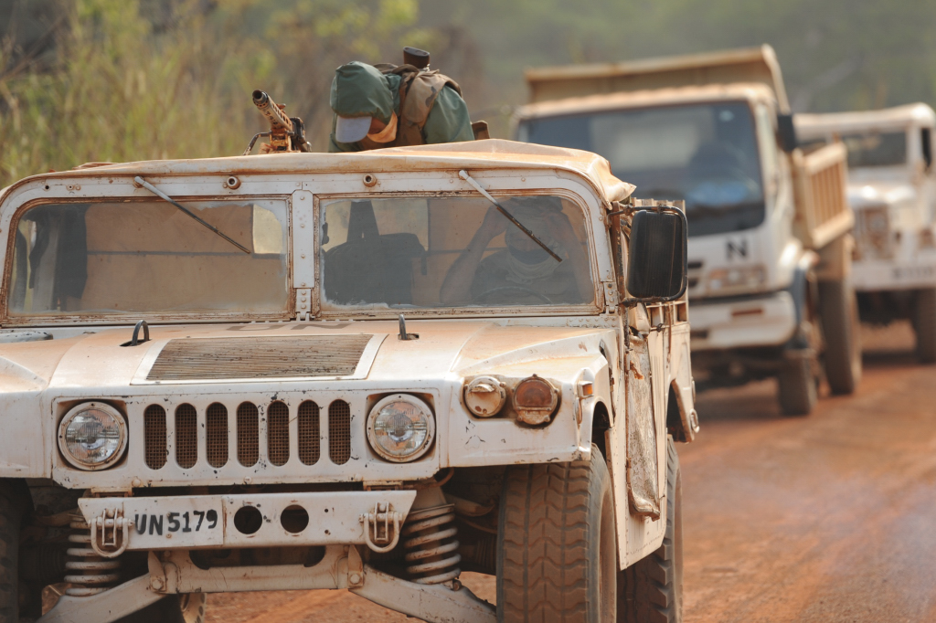 A UN armed convoy on the road between Faradje and Dungu in the north eastern Democratic Republic of Congo