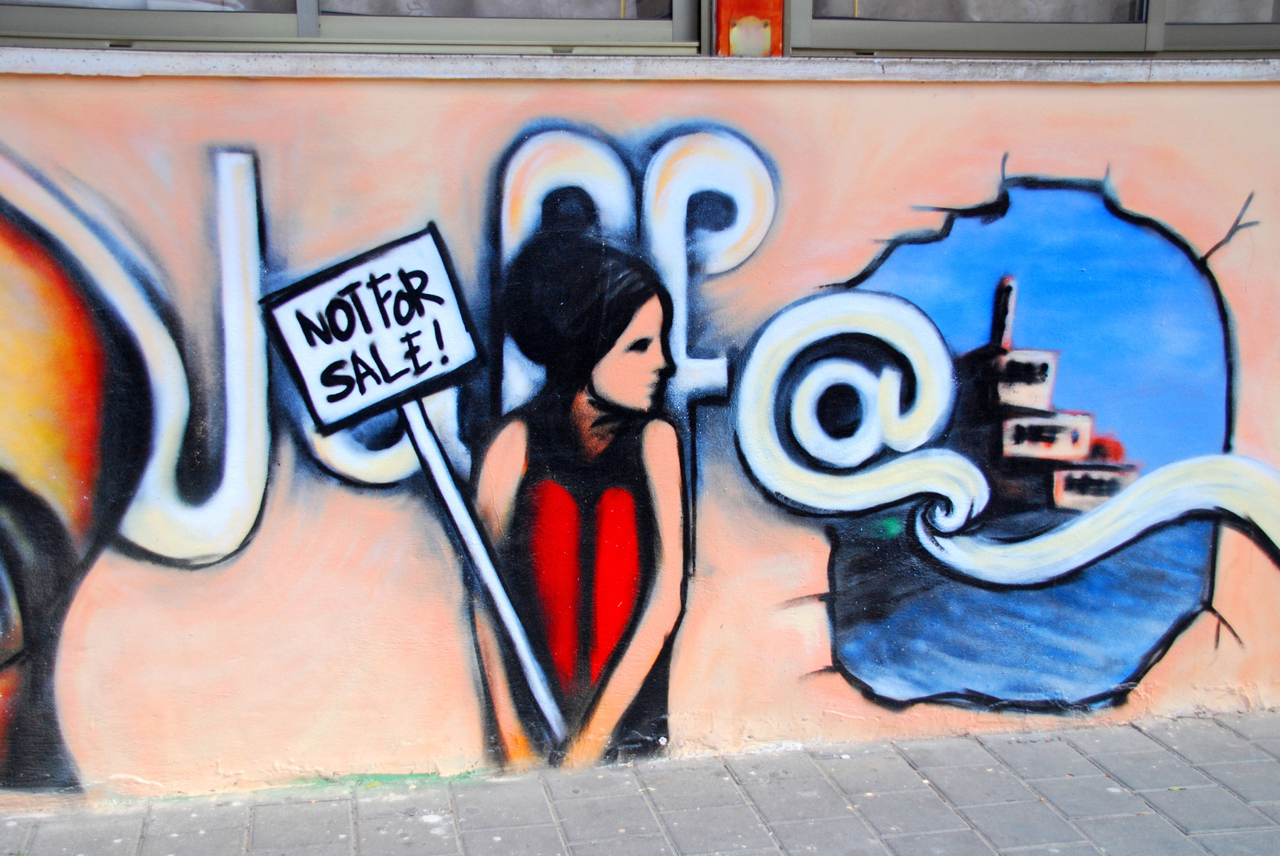 Graffiti in the Ajame neighbourhood of Jaffa, Israel, where currently about 500 Palestinian families face eviction orders