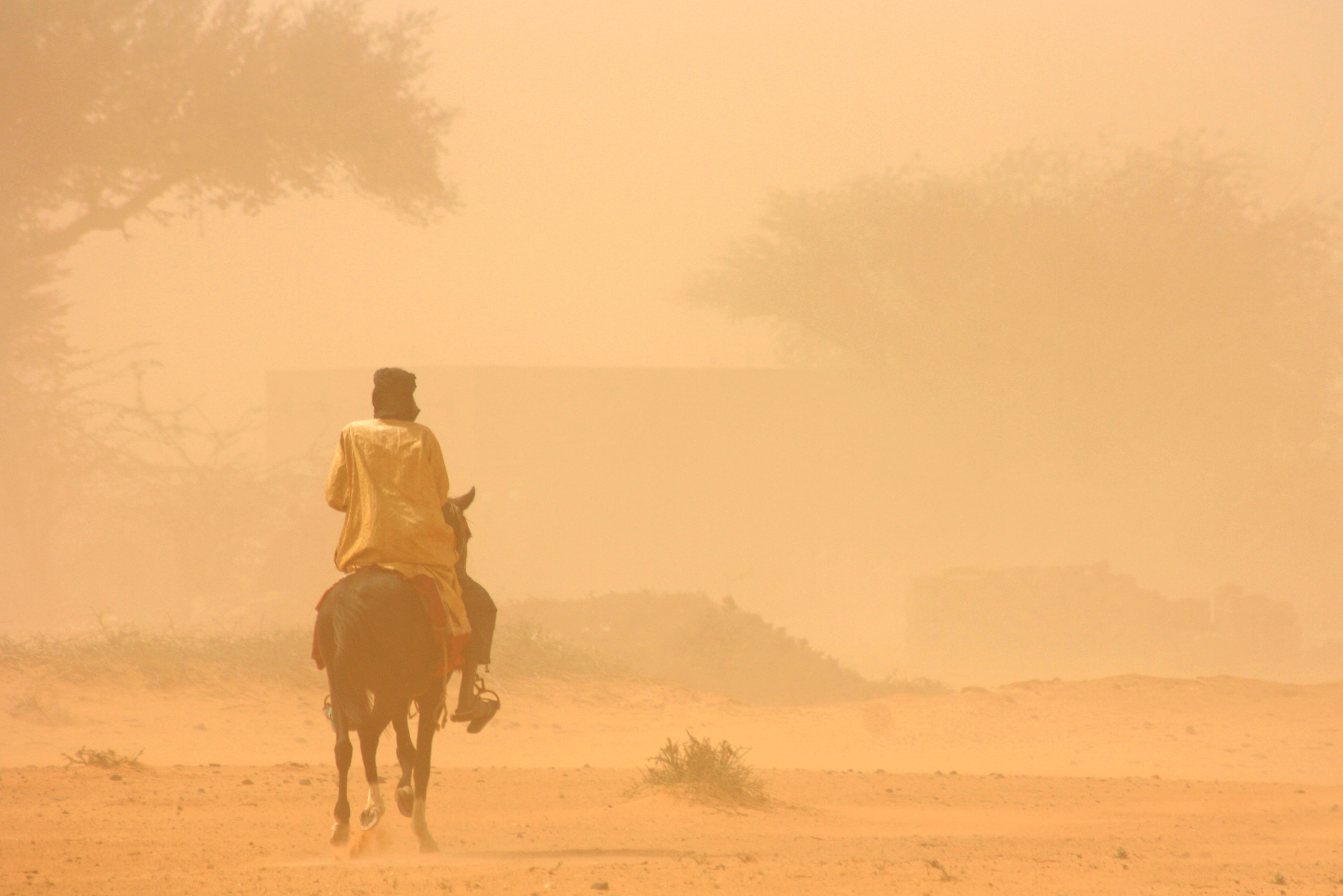 A man on horseback rides through a sandstorm in Niger's Tillaberi region in the southwest