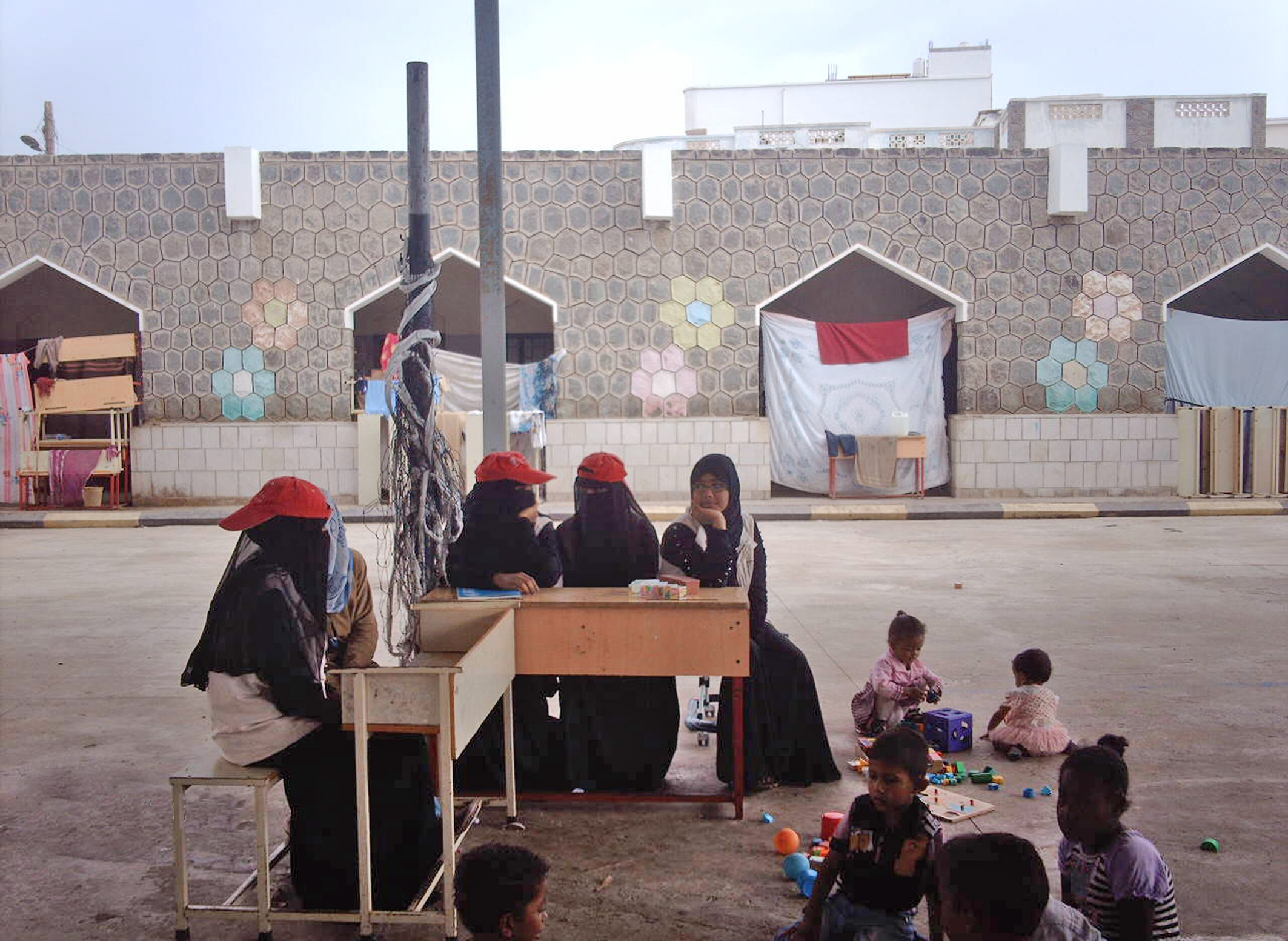 Women IDPs in a school in Aden. Conditions for displaced women in Jaar are tough