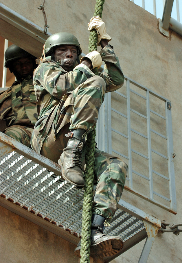 Malian soldiers learn fast-rope drills with U.S. Special Operations Forces (SOF) trainers during a military training engagement May 11, 2010 in Bamako, Mali