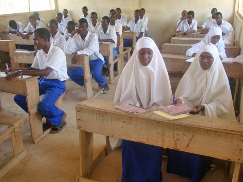 Girls in class in Ifo secondary school in Dadaab