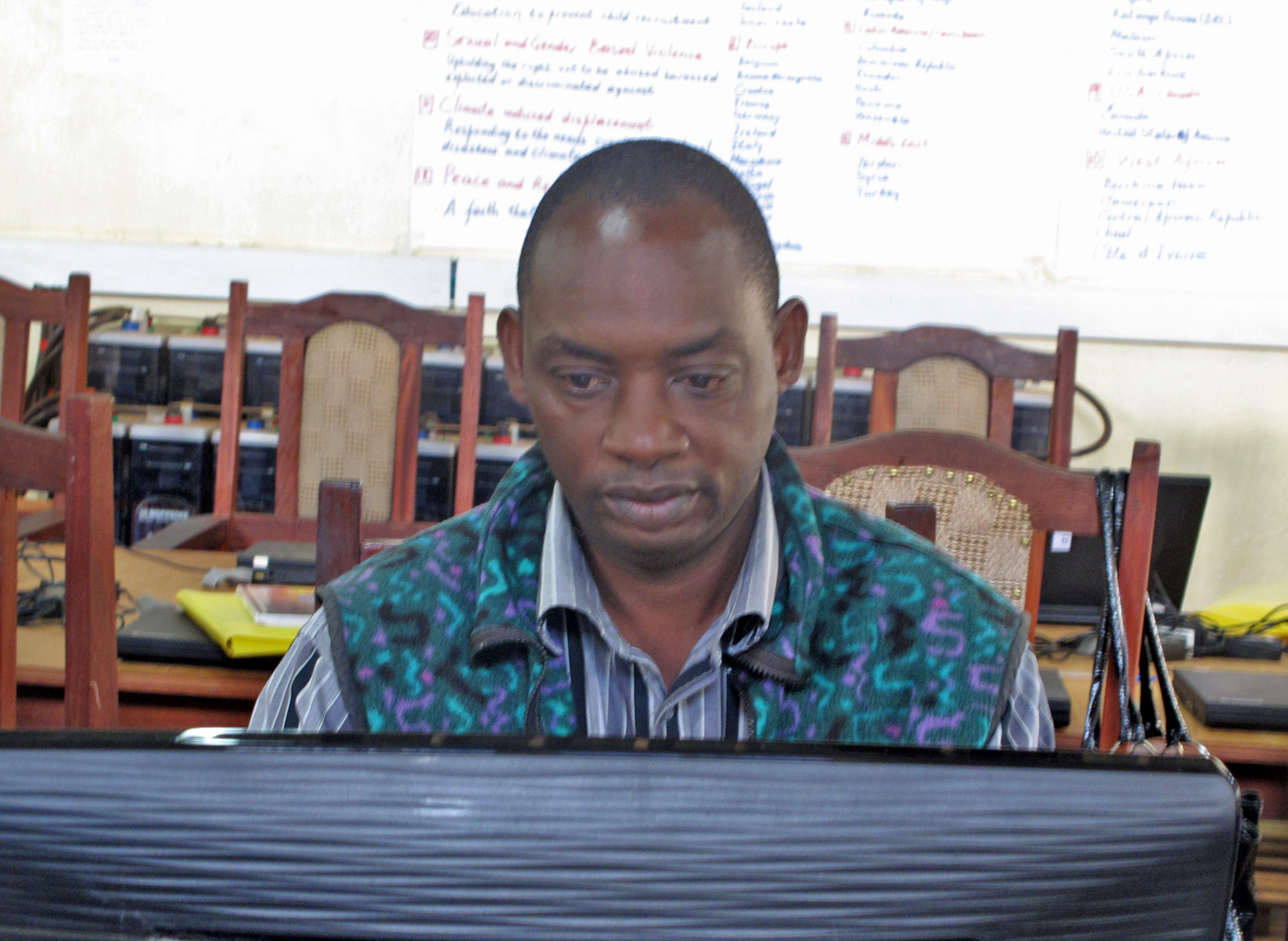 Gustave Lwaba, a 47-year-old from the Democratic Republic of Congo, is working towards a diploma in liberal studies from a university in the United States through a distance learning programme at Dzaleka Refugee Camp in Malawi