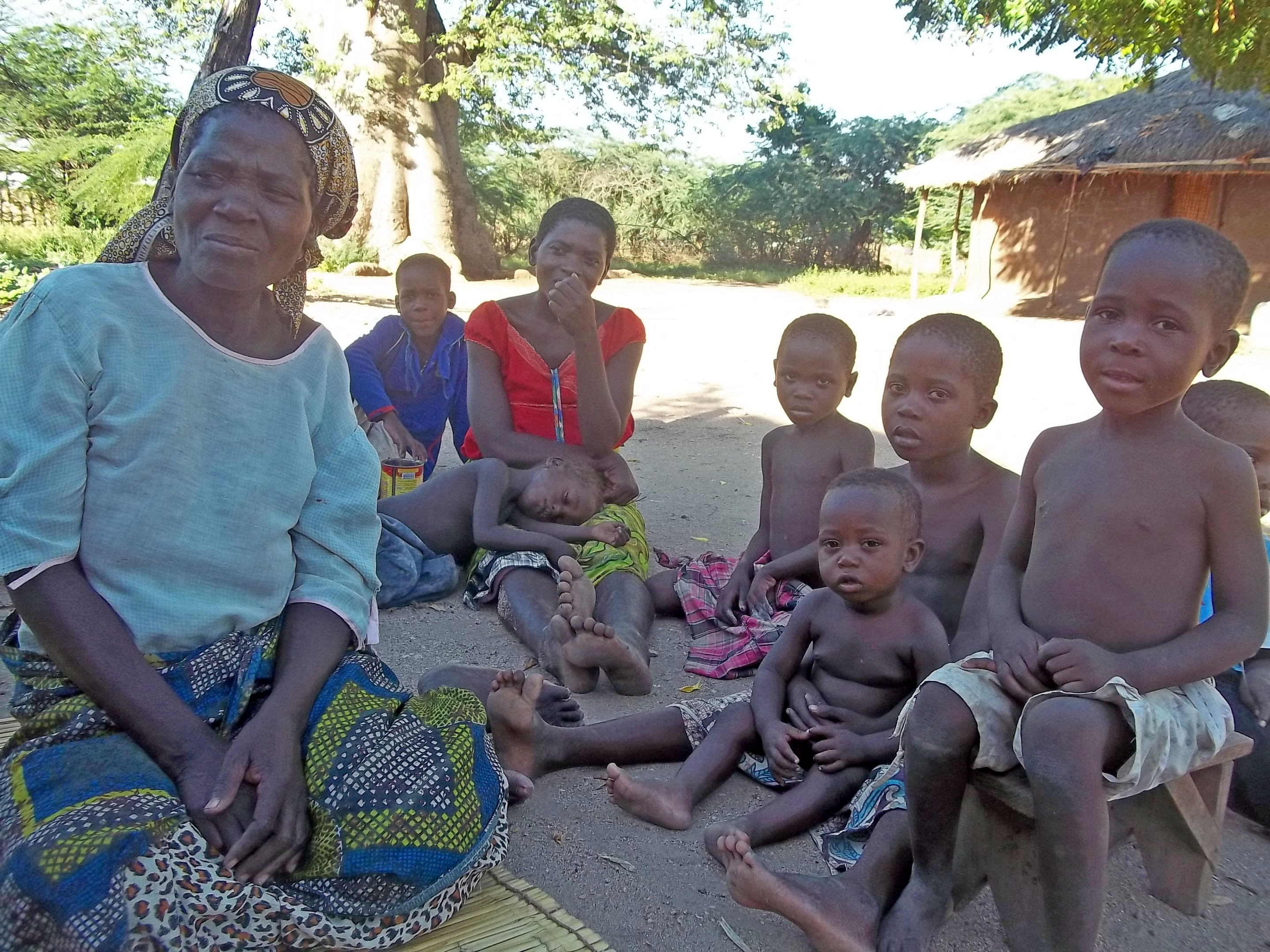 Fales Stesha and her family of 10 from the village of Konzere in southern Malawi's Chikhwawa district, are surviving on occasional piece work following the failure of their crops. Her grandchildren are listless and sickly from lack of food