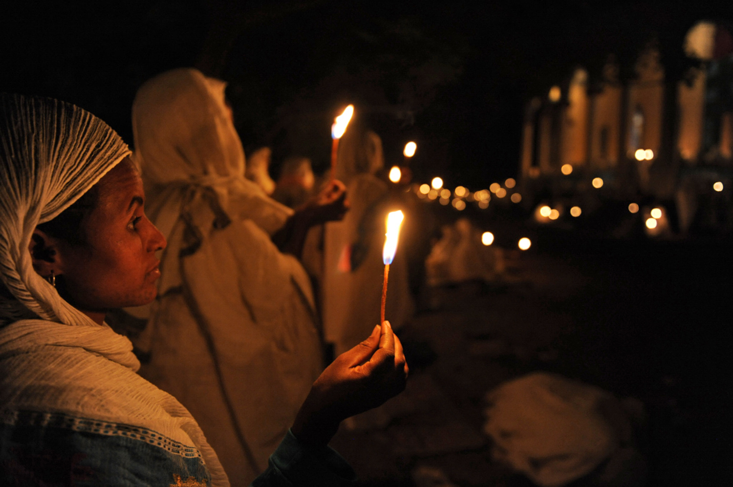 Orthodox Christians celebrate Easter during a  night long service at St Georges Church Bahir Dar, Ethiopia. Easter Sunday fell on April 8, 2012, while the Orthodox Christians celebrated the day on 15 April