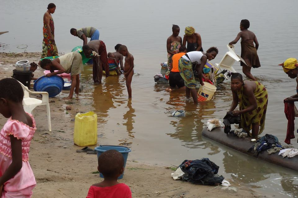 Kinshasa residents use the Congo River for much of their water needs