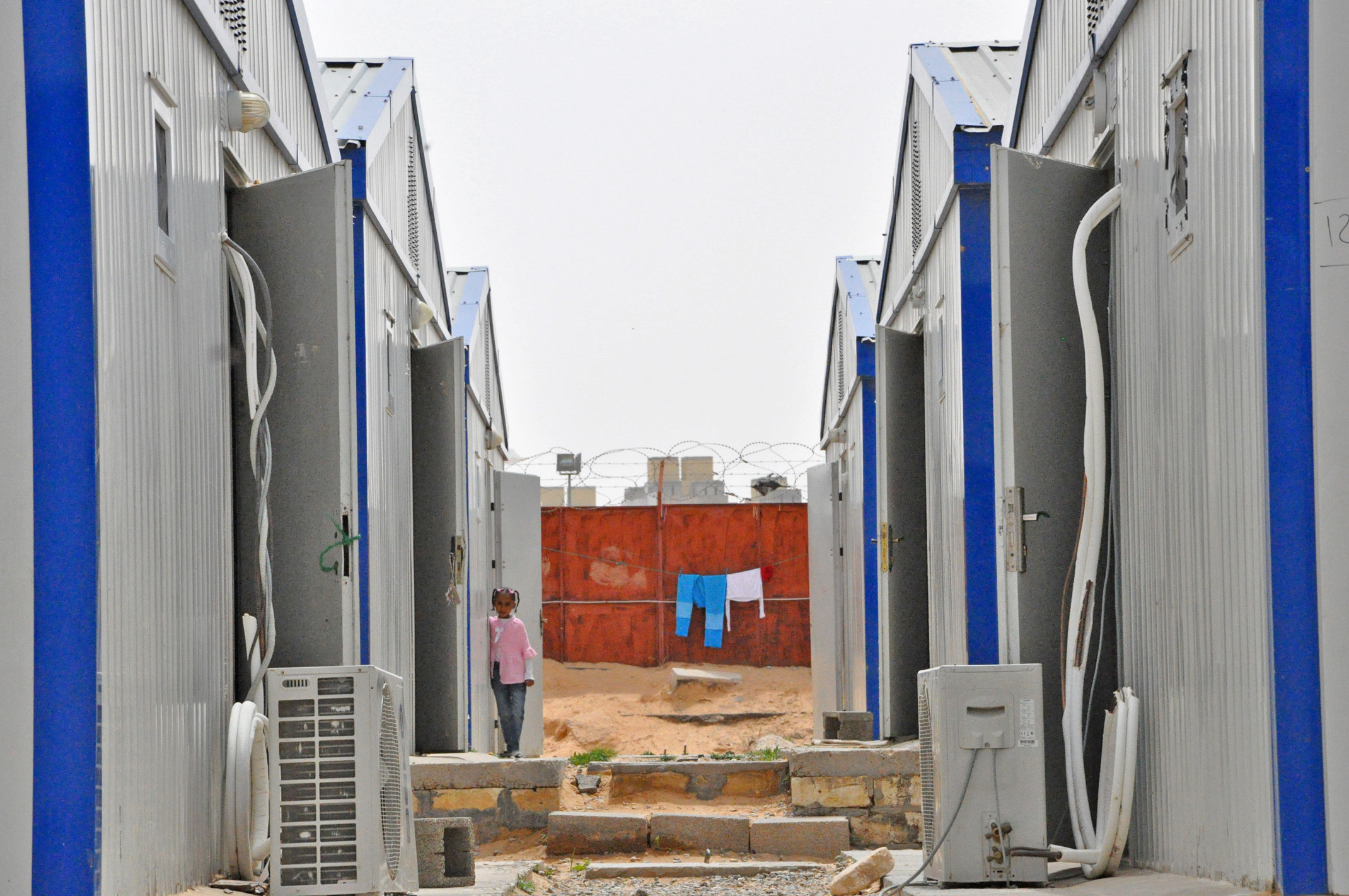 A row of company housing in Fallah Ladco camp in Tripoli, occupied by around 200 families from Tawergha