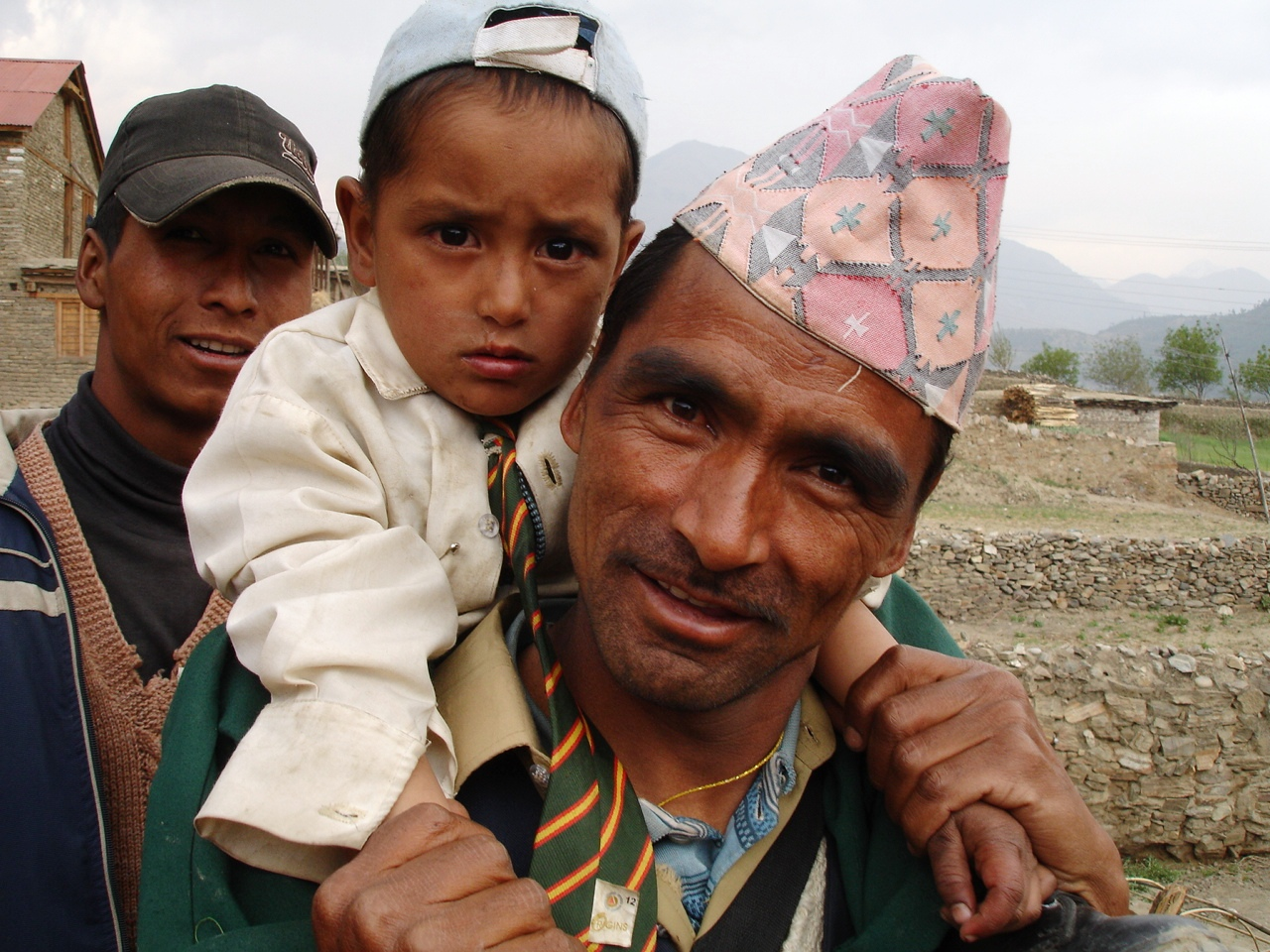 A boy and his father in Nepal's remote Jumla District