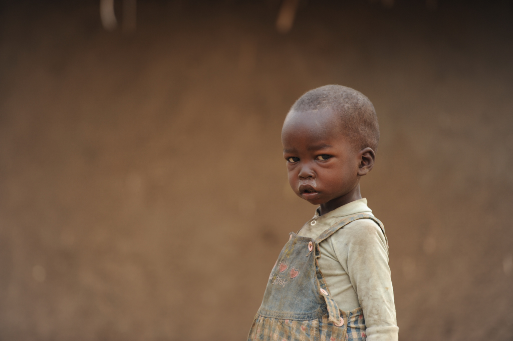 A young child at Ngubu IDP camp on the outskirts of Faradje, Haut-Uélé District, northeastern DRC