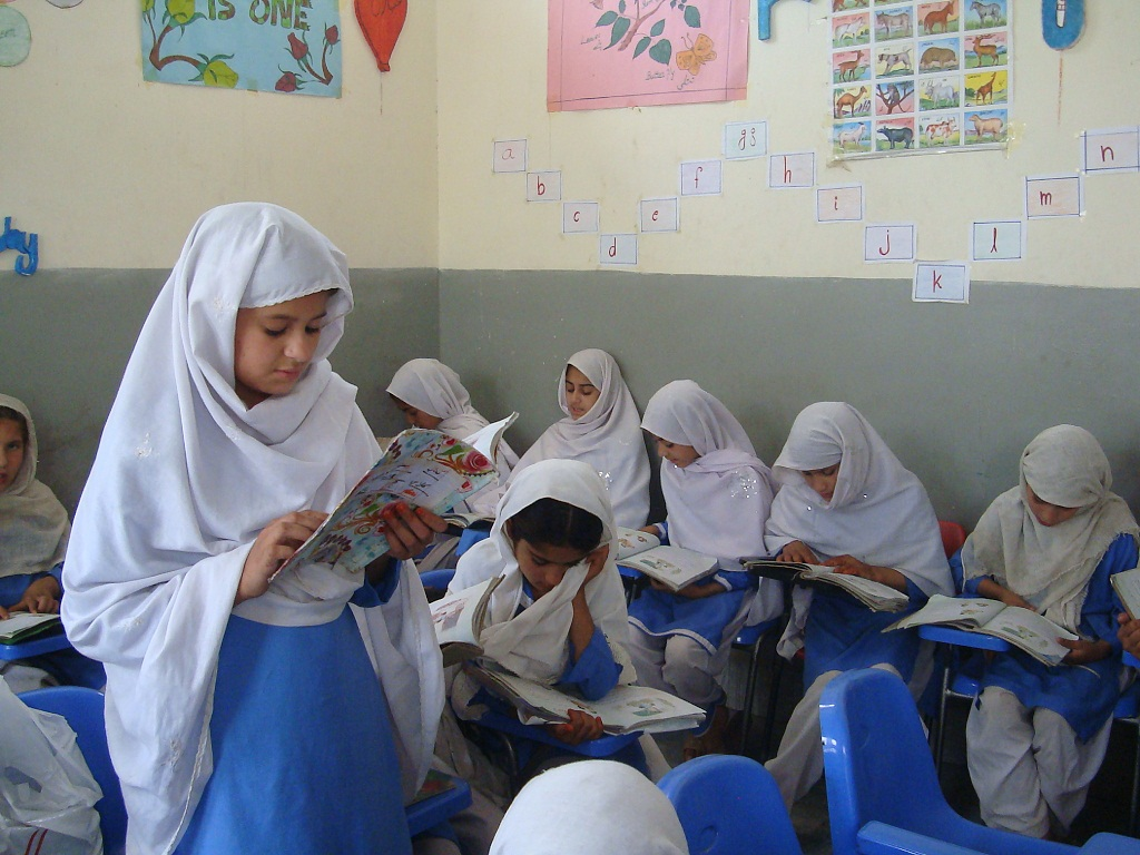 School children attending class at Noor Model School in Shamshatoo, Pakistan
