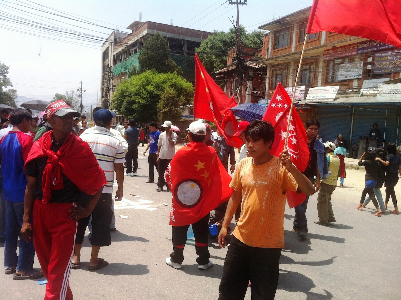 Protestors in Kathmandu gather ahead of a 27 May 2012 deadline for lawmakers to agree on a new draft constitution for the country