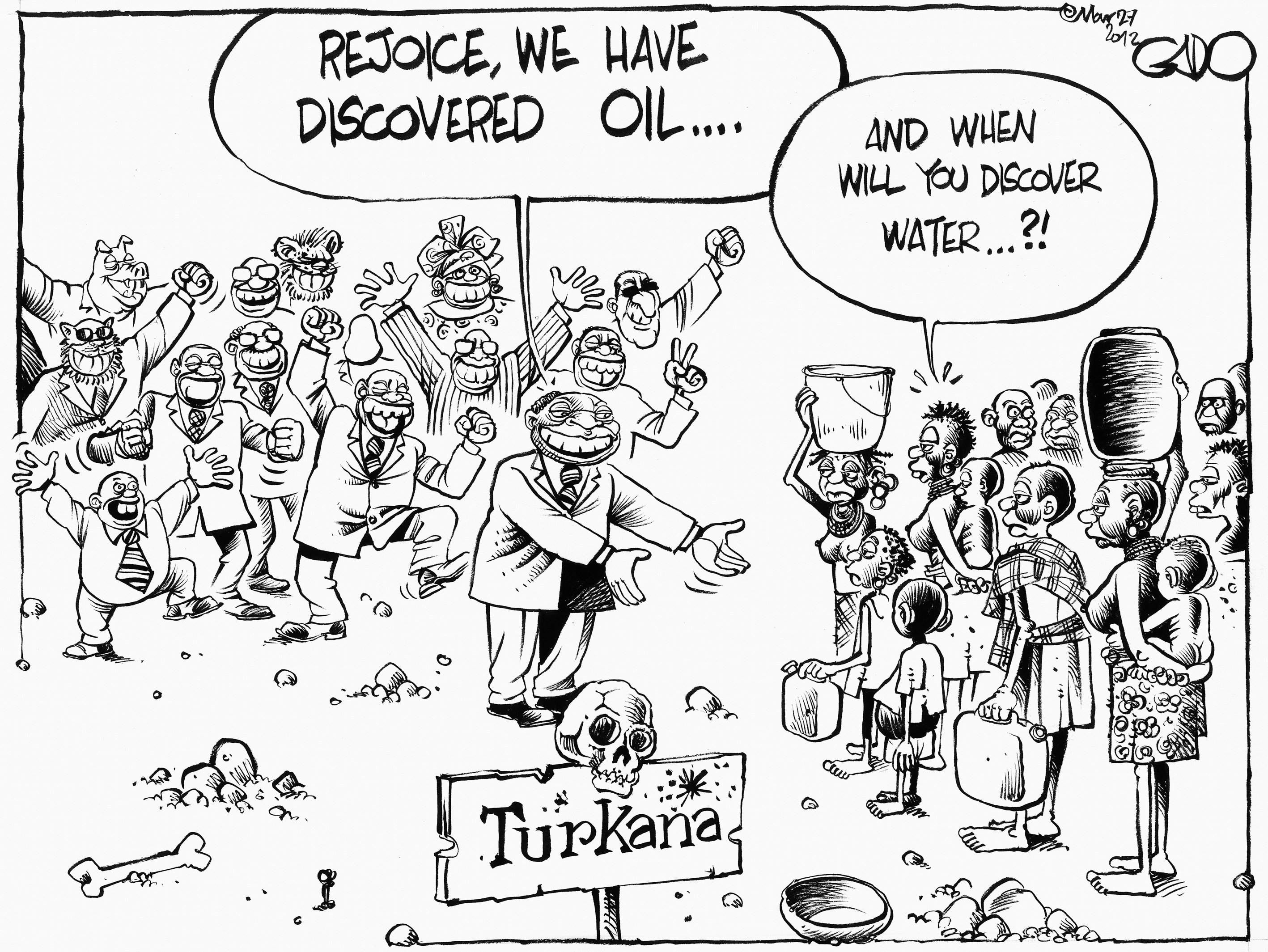 Gado, Kenya's leading cartoonist, takes a cynical view of recent oil discoveries