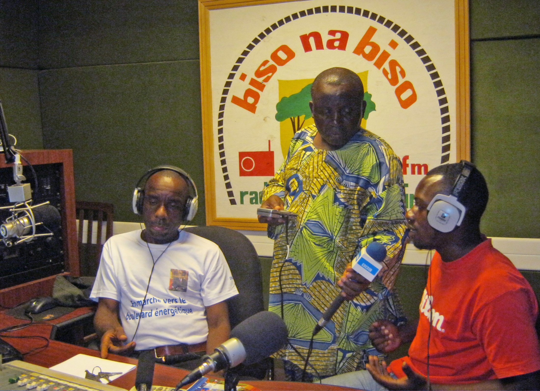 Recording a program in the Radio Biso studio