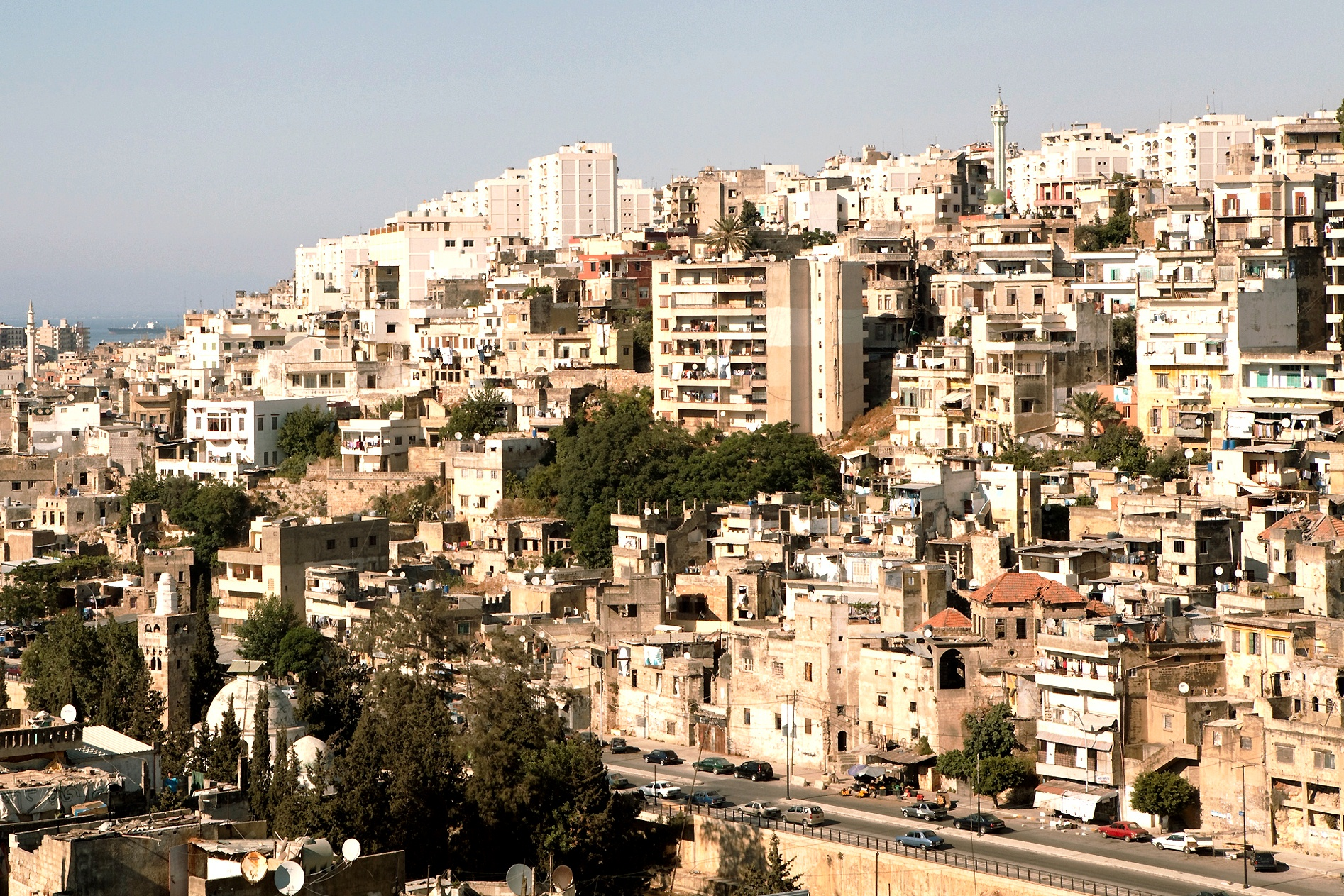 View of Jebel Mohsen neighbourhood, Tripoli, northern Lebanon. Jebel Mohsen's residents, mostly Alawi, have been at odds with the mostly Sunni residents of Bab al-Tabbaneh. The Syrian conflict has made their age-old sectarian tensions worse