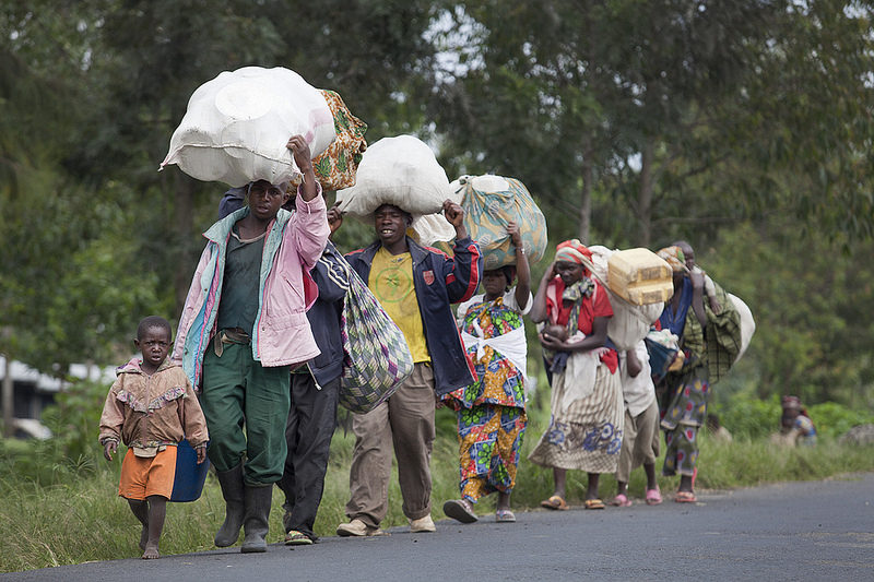 Population fleeing their villages due to fighting between FARDC and rebels groups, Sake North Kivu the 30th of April 2012