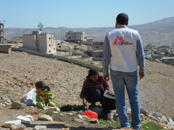 A Syrian family that has fled to Aarsal, close to Syria's border