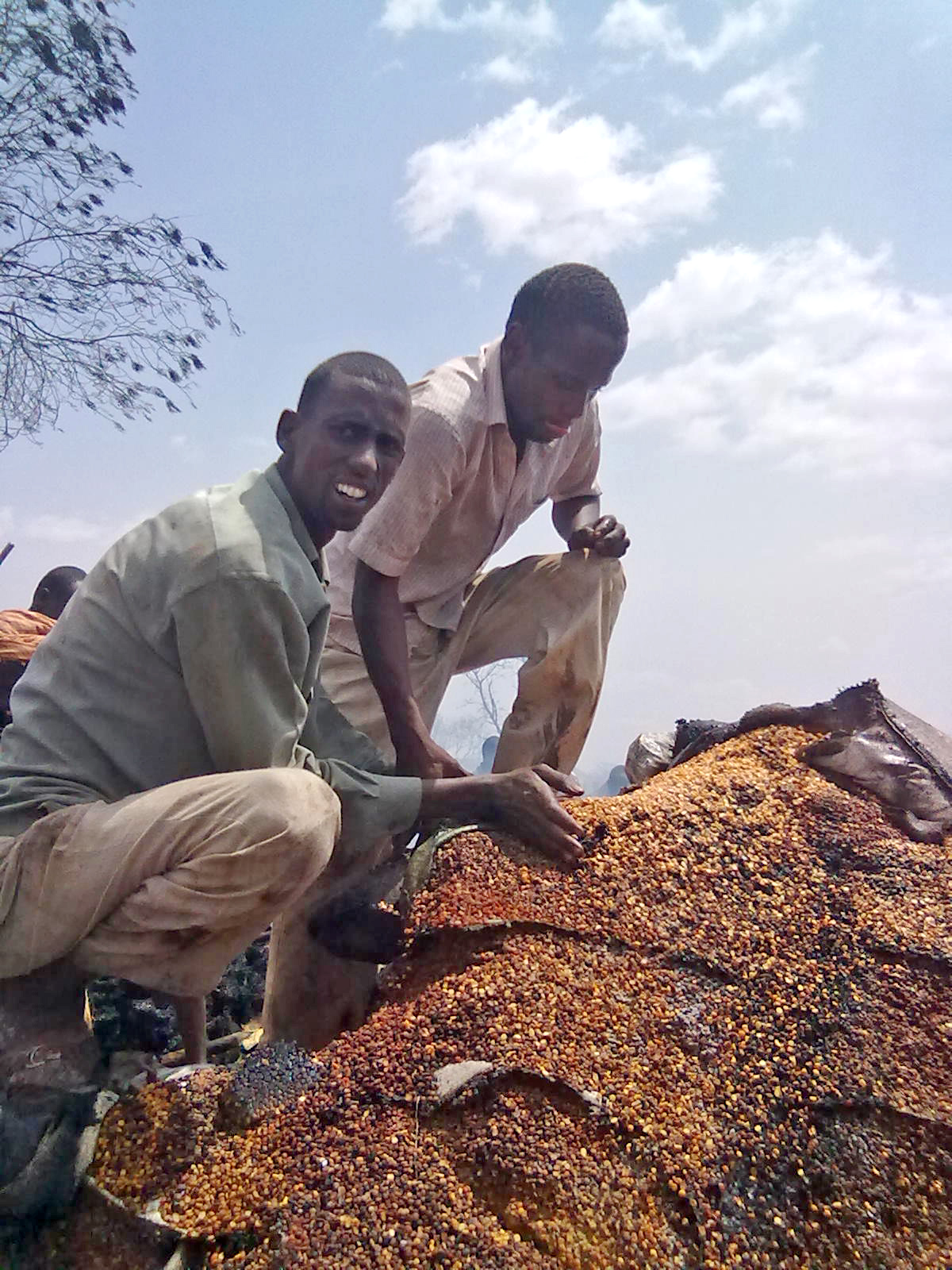Shopkeepers try to salvage for unburnt grains after a severe fire broke out in the main market of Dagahaley refugee camp