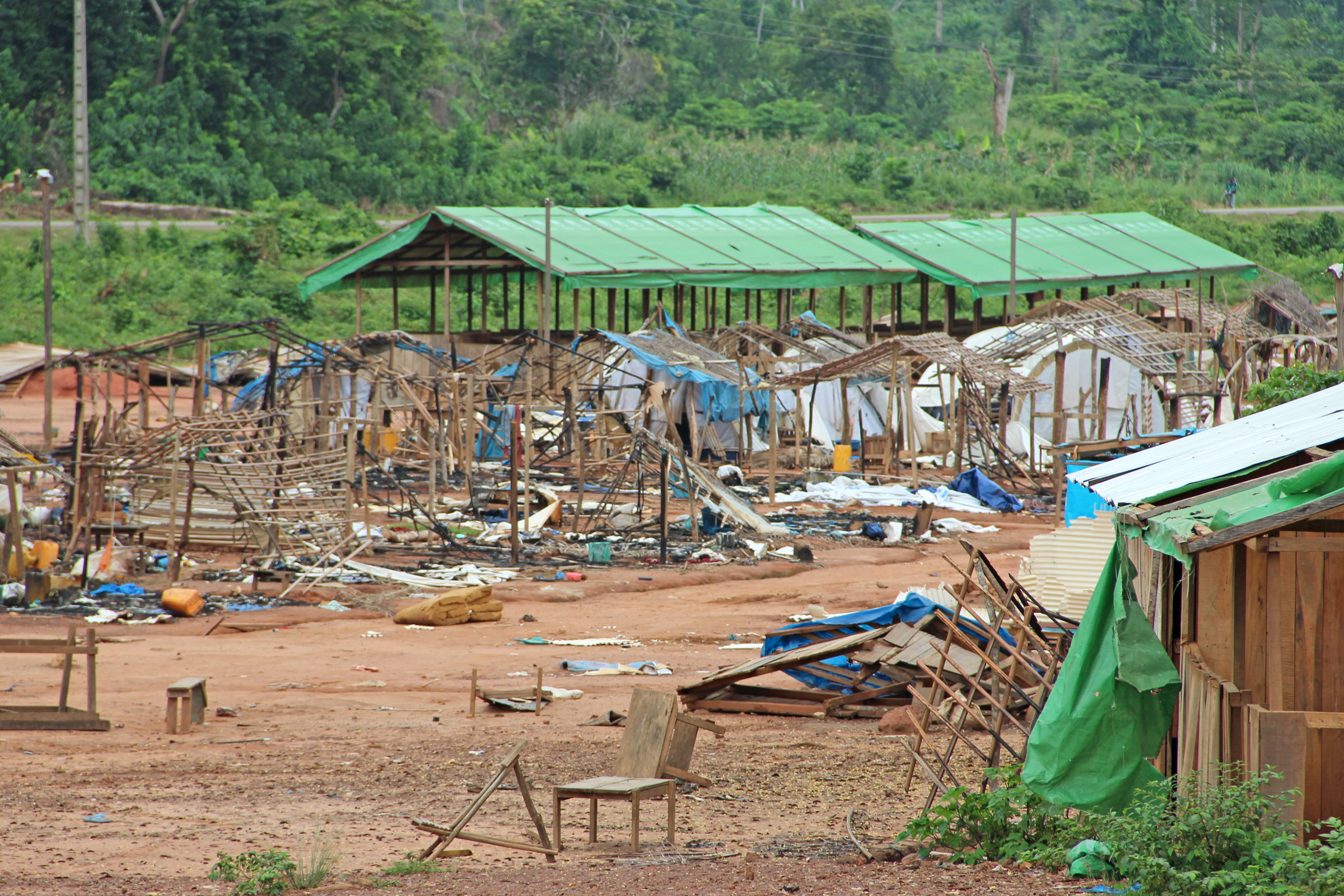 Nahibly IDP camp in western Côte d'Ivoire ravaged and torched on 20 July 2012 by a huge mob of up to thousand people. Six IDPs were killed and dozens wounded in the raid that highlighted the insecurity in the country's western region