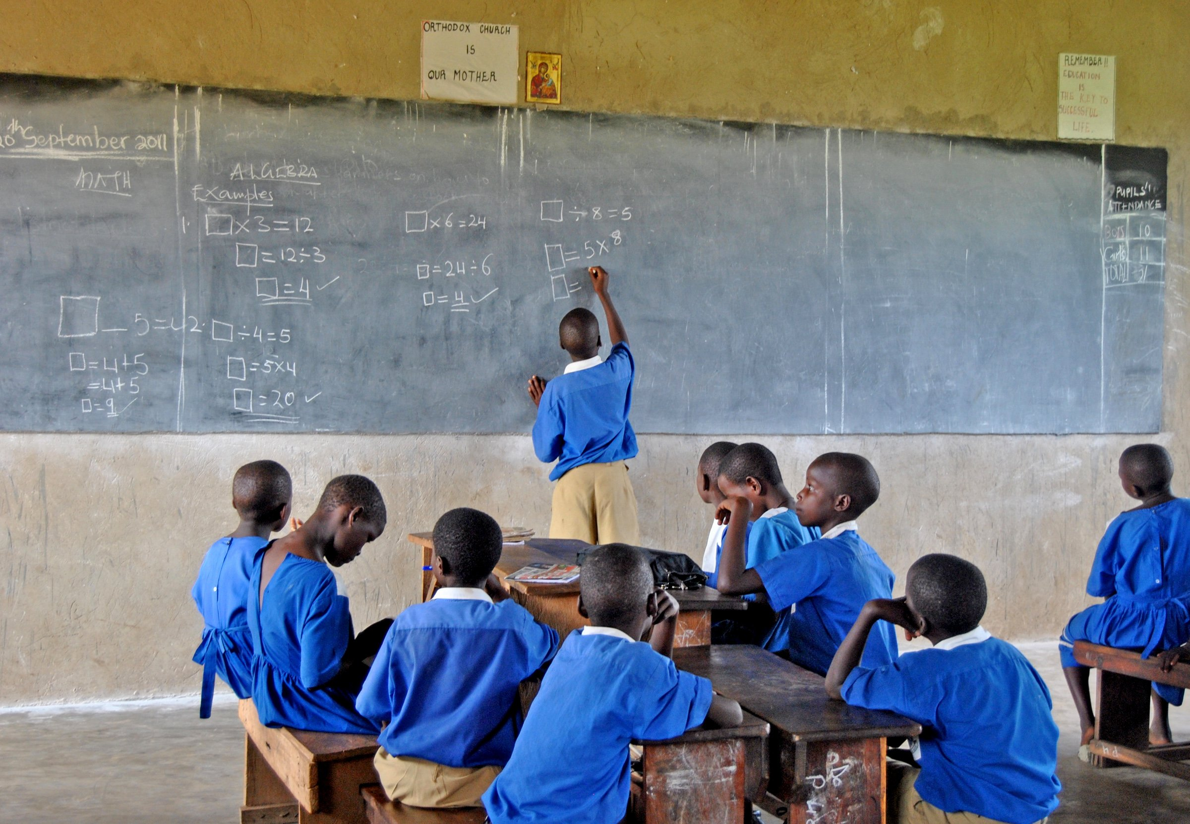 Primary school students in their classroom, Luwero District, central Uganda (Nov 2011)